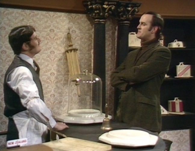 Scene from Monty Python's Cheese Sketch