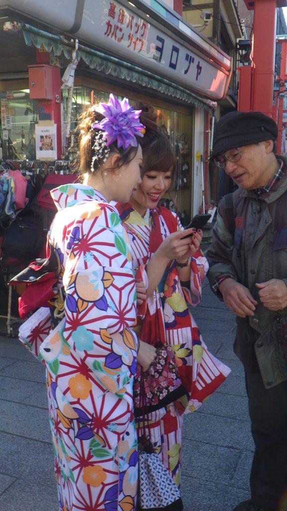 Visitors often dress in kimono