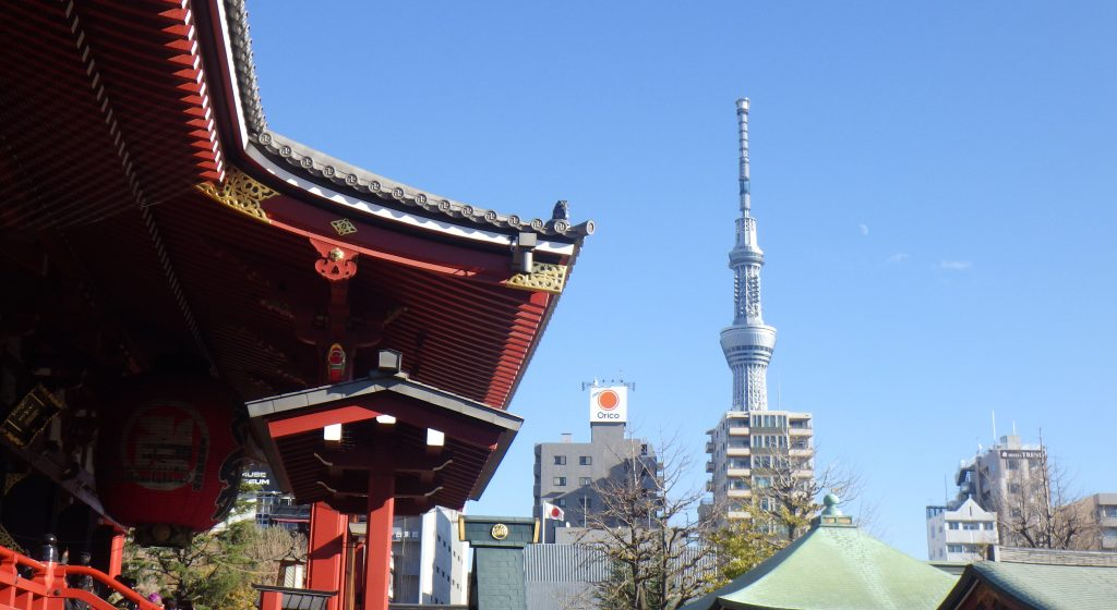 Sensō-ji with Tokyo Skytree and crescent moon
