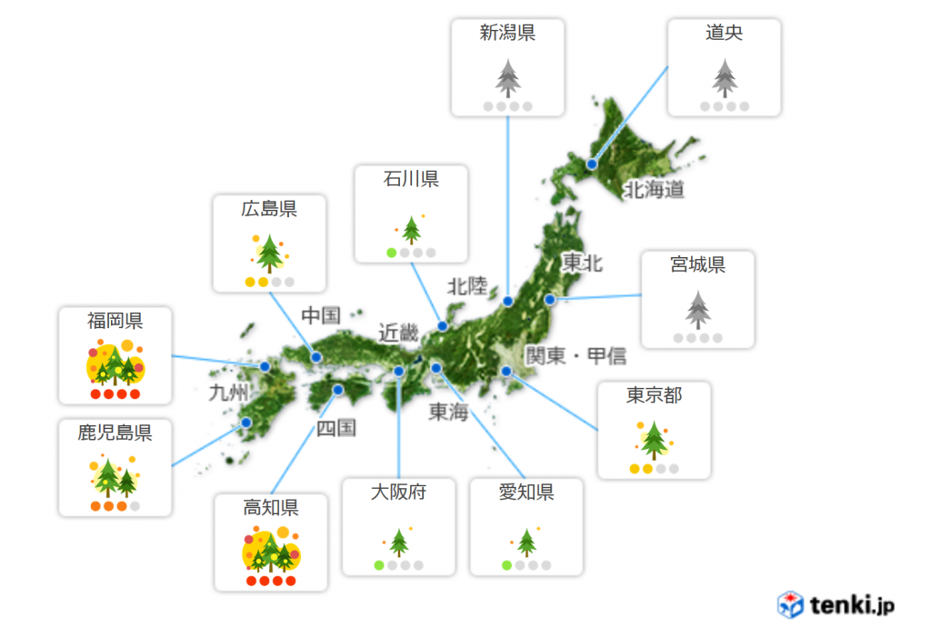 Map of Japan with pollen count