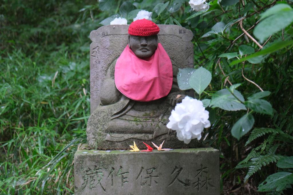 Jizo among hydrangea